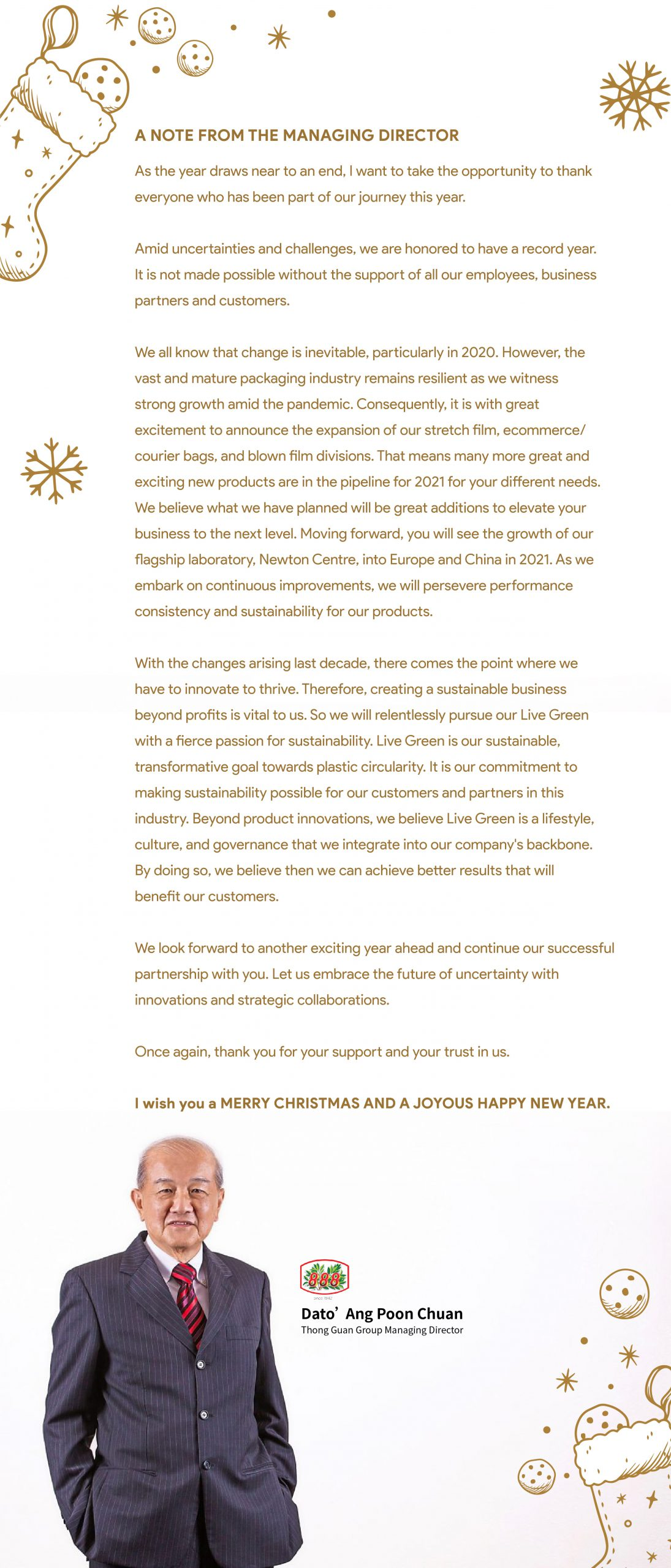 Christmas greeting from the managing director of Thong Guan